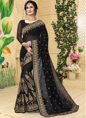 Georgette Zari Designer Saree in Black