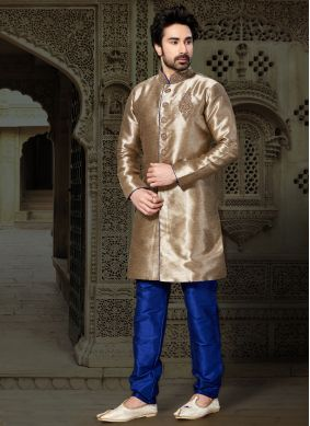 Giccha Silk Embroidered Gold Kurta Pyjama