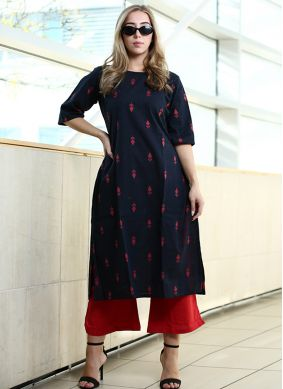 Gilded Printed Cotton Party Wear Kurti