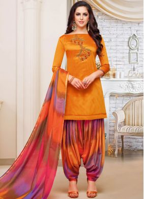 Girlish Art Silk Embroidered Orange Designer Patiala Suit