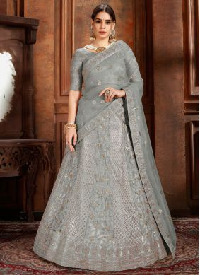 Girlish Embroidered Net Grey Designer Lehenga Choli