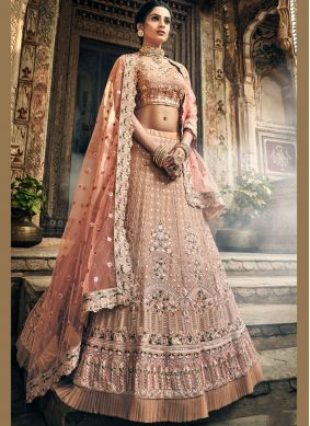 Girlish Georgette Embroidered Peach A Line Lehenga Choli