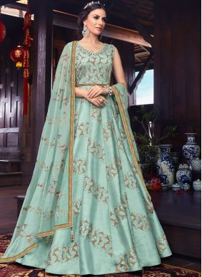 Girlish Resham Art Silk Floor Length Anarkali Suit