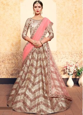 Girlish Satin Brown Swarovski Designer Lehenga Choli