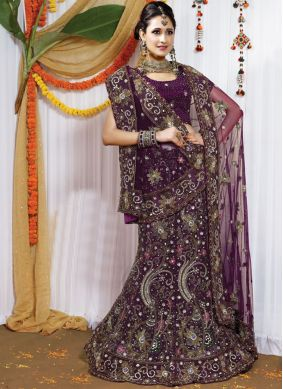 Glamorous Embroidered Net Purple Lehenga Choli