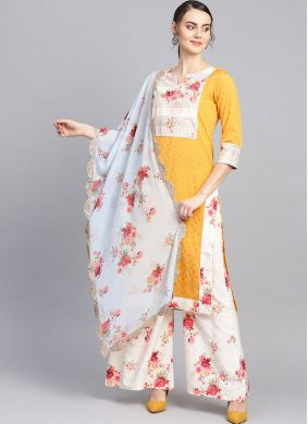 Glamorous Faux Crepe Print Readymade Suit