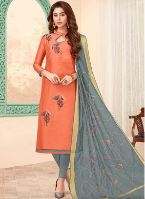 Gleaming Cotton Churidar Designer Suit