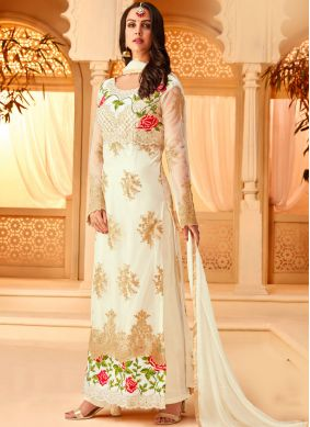 Gleaming Embroidered Sangeet Designer Straight Suit