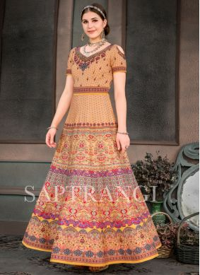 Gleaming Fancy Fabric Multi Colour Print Designer Gown