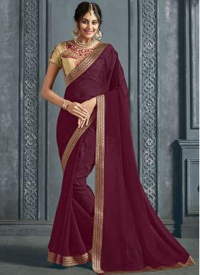 Gleaming Faux Chiffon Patch Border Maroon Traditional Saree