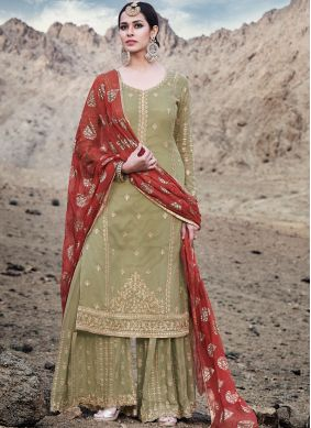 Gleaming Faux Georgette Designer Palazzo Suit