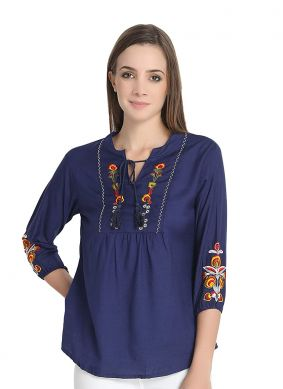 Glitzy Rayon Navy Blue Embroidered Casual Kurti