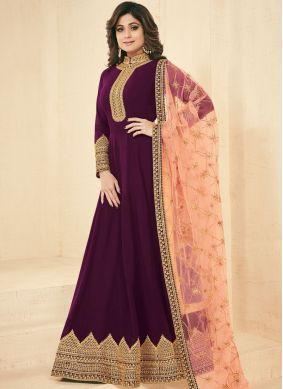 Glitzy Shamita Shetty Purple Faux Georgette Floor Length Anarkali Suit