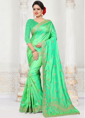 Glorious Embroidered Work Green Silk Designer Traditional Saree