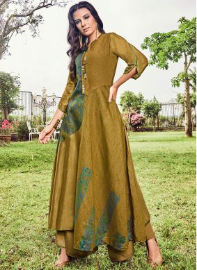 Glorious Mustard Fancy Fabric Party Wear Kurti