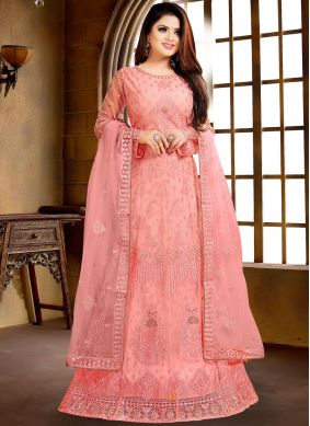 Glorious Pink Net Salwar Suit