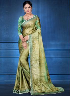 Glossy Green Georgette Satin Printed Saree