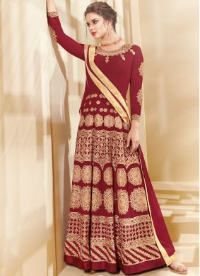 Glossy Lace Faux Georgette Floor Length Anarkali Suit
