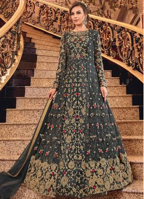 Glossy Net Black and Grey Trendy Anarkali Suit