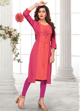 Glossy Rayon Pink Embroidered Party Wear Kurti