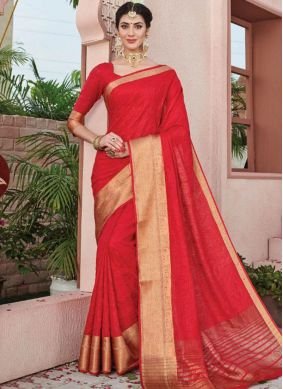 Glossy Weaving Red Art Silk Silk Saree