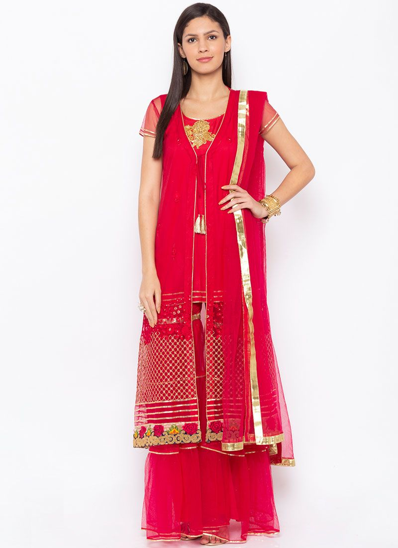 Glowing Net Embroidered Readymade Suit