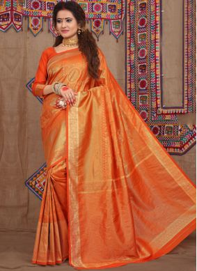 Glowing Orange Weaving Designer Traditional Saree