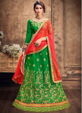 Glowing Resham Green Art Silk Lehenga Choli