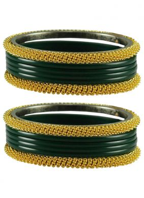Gold and Green Party Bangles
