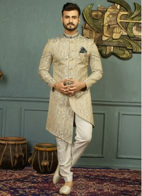 Gold and Grey Embroidered Indo Western