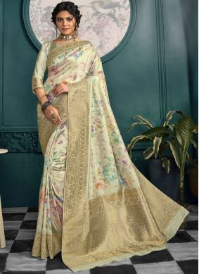 Gold and Off White Printed Printed Saree