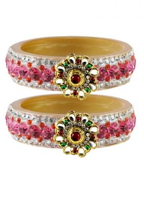Gold and Pink Stone Work Party Bangles