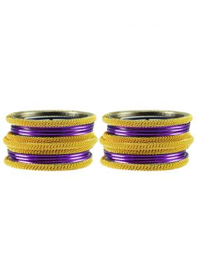 Gold and Purple Stone Work Reception Bangles