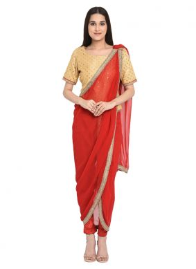 Gold and Red Embroidered Readymade Salwar Kameez