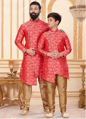 Gold and Red Festival Jacquard Silk Indo Western
