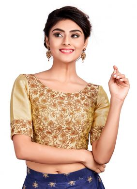 Gold Art Dupion Silk Designer Blouse