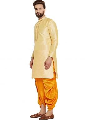 Gold Art Dupion Silk Embroidered Dhoti Kurta