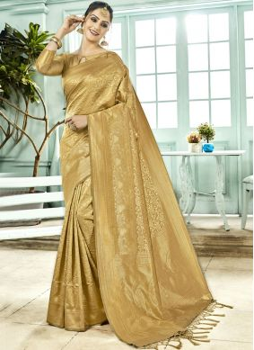 Gold Art Silk Woven Traditional Designer Saree