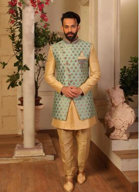 Gold Embroidered Jacquard Silk Indo Western