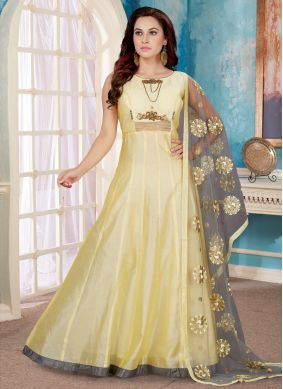 Gold Festival Art Silk Readymade Designer Gown