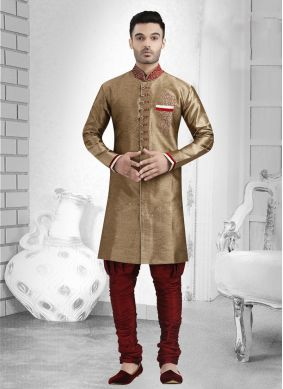 Gold Jacquard Embroidered Indo Western