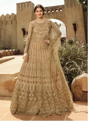 Gold Net Anarkali Salwar Suit