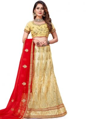 Gold Net Embroidered Trendy Lehenga Choli
