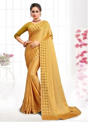 Gold Party Satin Classic Saree