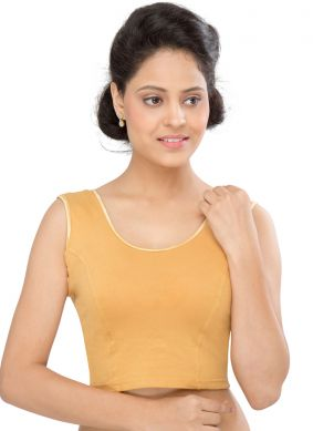 Gold Plain Designer Blouse