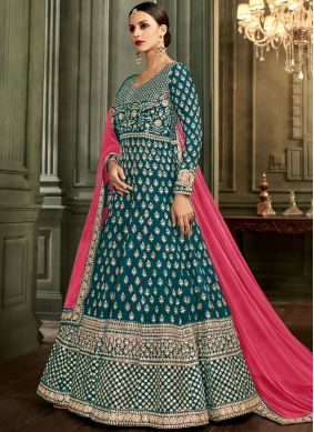 Gorgonize Malbari Silk  Embroidered Blue Anarkali Salwar Suit
