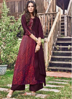 Gorgonize Print Wine Fancy Fabric Party Wear Kurti