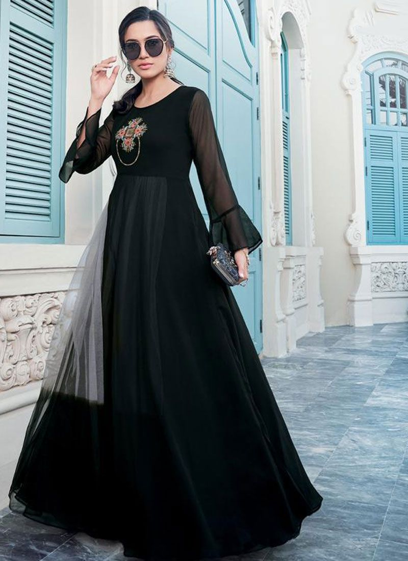 Gown Embroidered Faux Georgette in Black