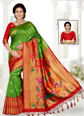 Grandiose Embroidered Art Silk Green and Red Traditional Saree