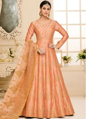 Grandiose Embroidered Malbari Silk  Orange Anarkali Salwar Suit